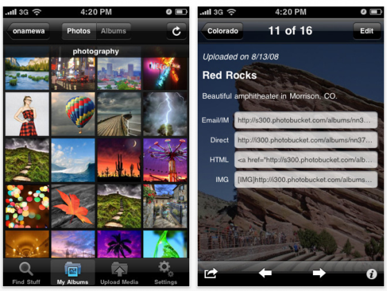 Screenshot Photobucket für iPhone und iPod Touch