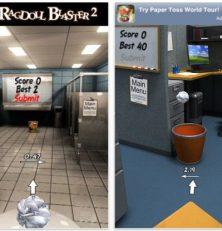 Beweise Dein Können im Papierkugel-Zielwerfen in Paper Toss für Dein iPhone, iPod Touch und iPad